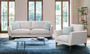 Salón son conjunto de sofá blanco roto
